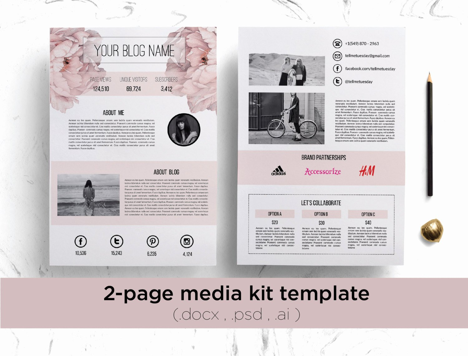 Press Kit Template Free Luxury 2 Page Media Kit Template Floral Background Elegant Blog