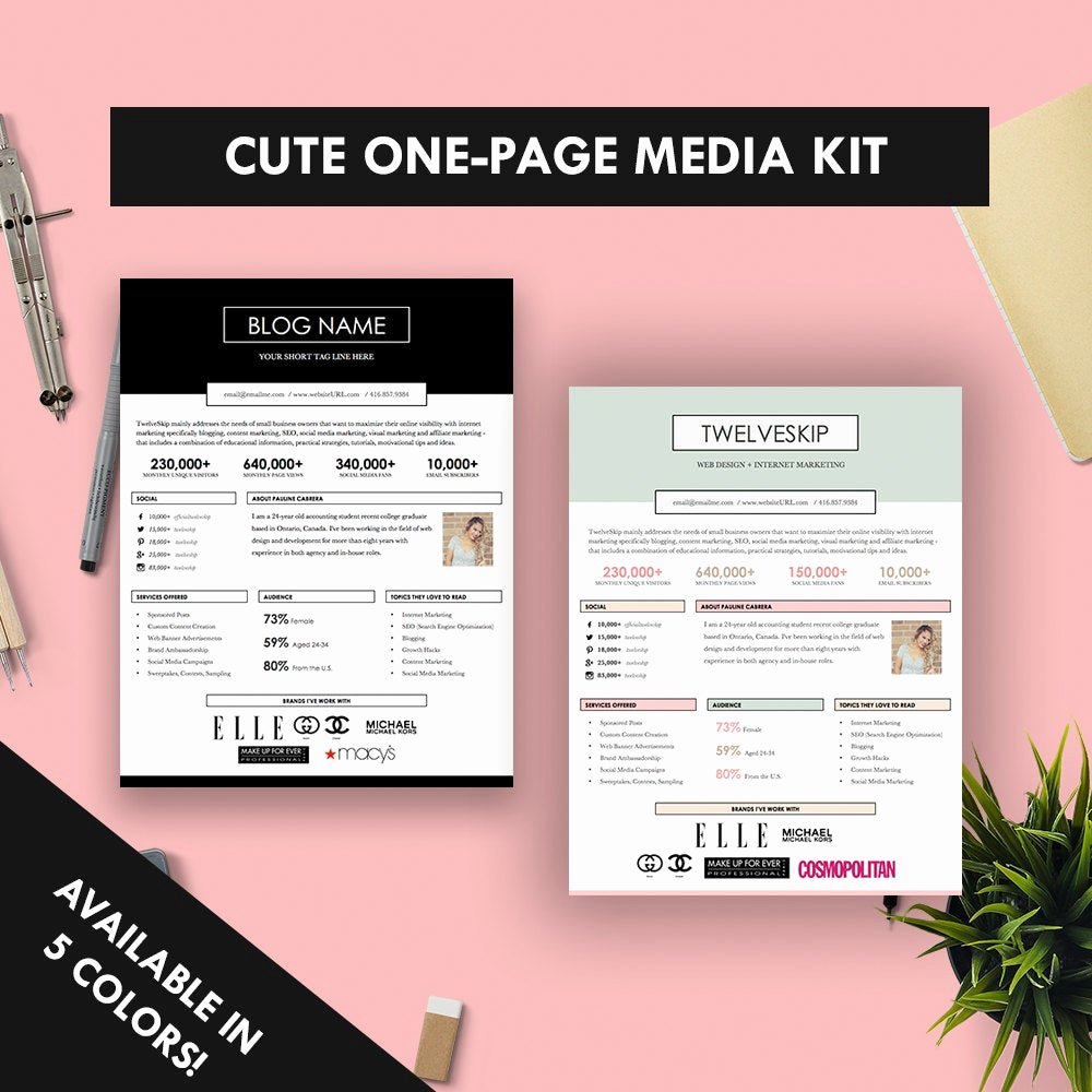 Press Kit Template Free Luxury Cute E Page Media Kit Template Press Kit Pastel Black