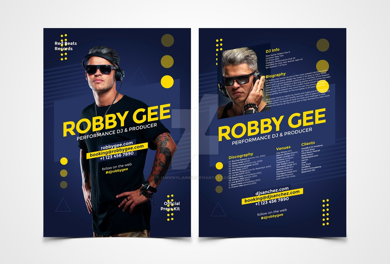 Press Kit Template Free New Prodj Dj Press Kit Dj Resume Psd Template by