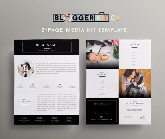 Press Kit Template Free Unique Two Page Media Kit Template Press Kit Template by Bloggerkitco