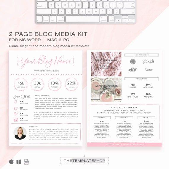 Press Kit Template Word Luxury Media Kit Template 2 Page Blog Media Kit