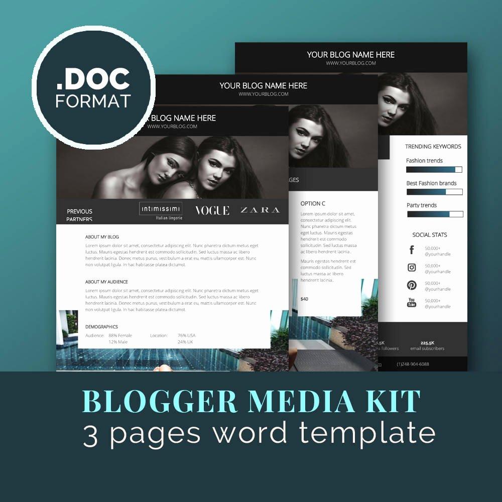 Press Kit Template Word New Media Kit Template Blog Marketing Kit Word Template Press