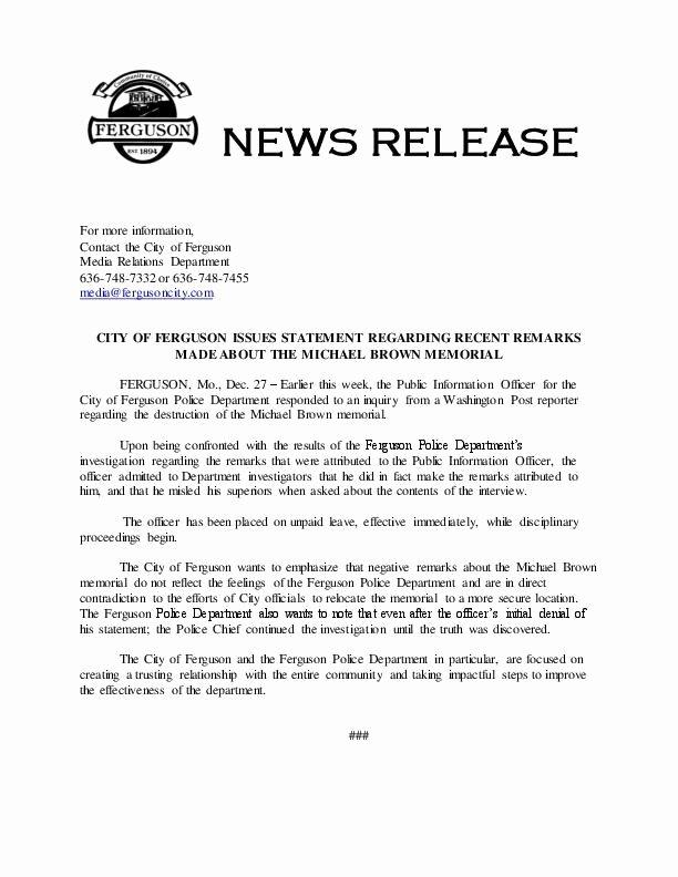 Press Release Template Free Elegant Ferguson Press Release