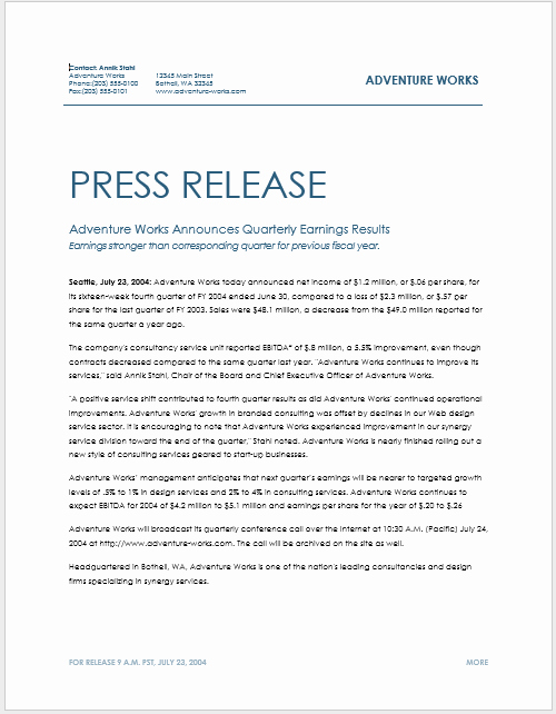 Press Release Template Free Fresh Press Release Template 15 Free Samples Ms Word Docs
