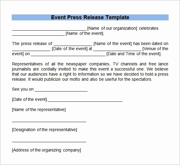 Press Release Template Free Fresh Sample Press Release Templates 7 Free Documents