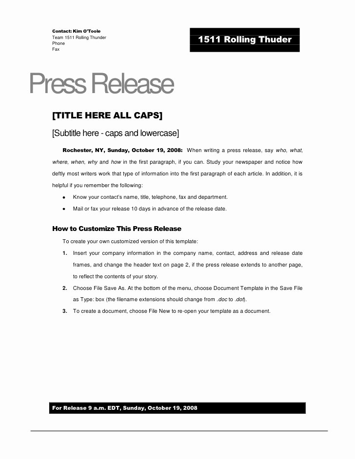 Press Release Template Free Inspirational Rolling Thunder Press Release Template