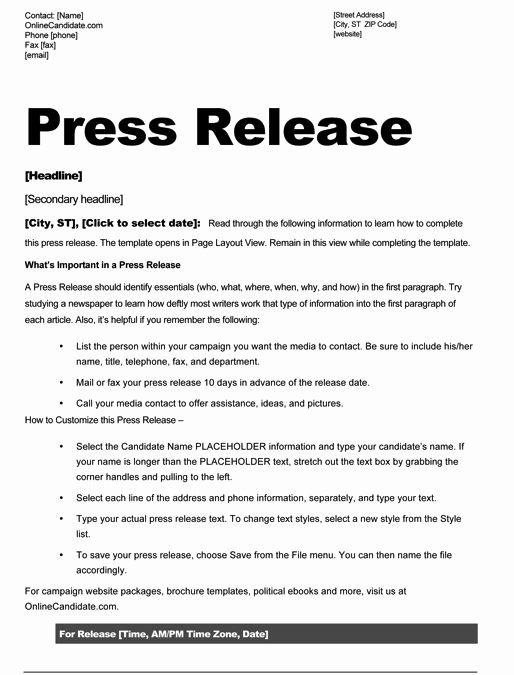 Press Release Template Free Lovely School Board Campaign Press Release Template Slate Blue