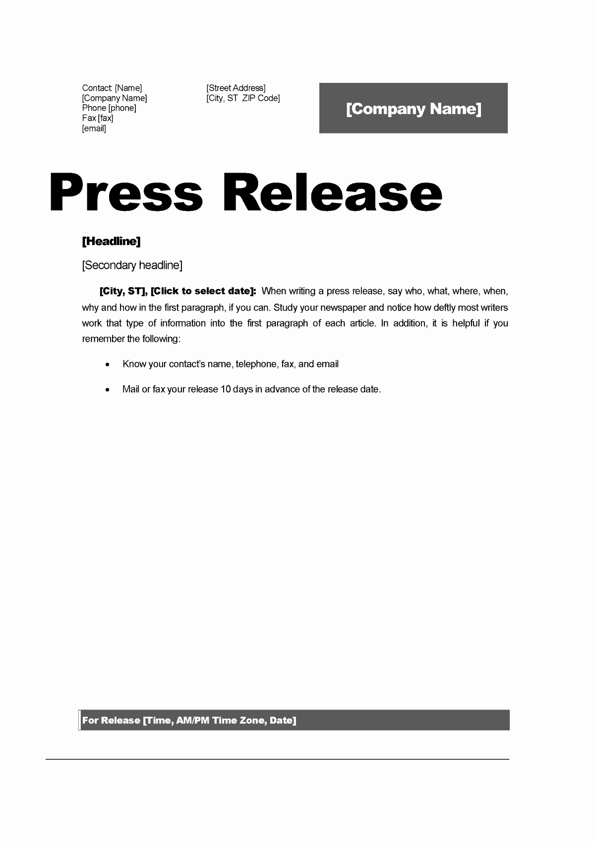 Press Release Template Free Lovely top 5 Resources to Get Free Press Release Templates Word