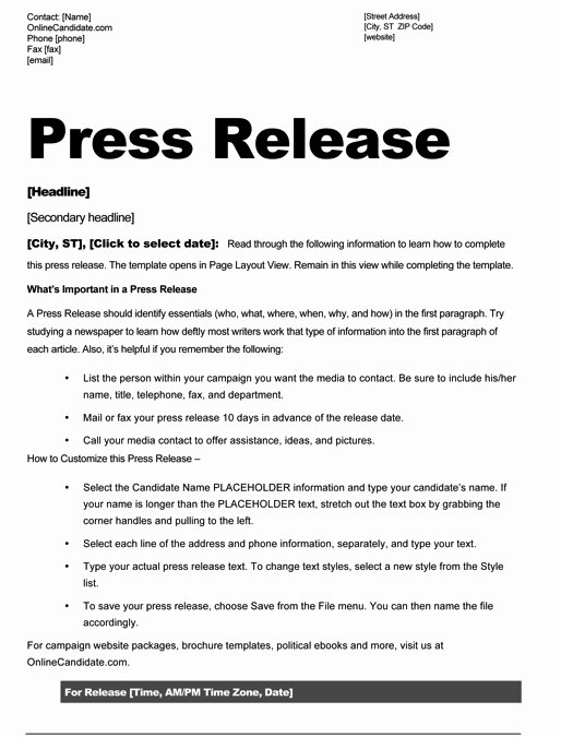Press Release Template Free Luxury Political Print Templates – Red White and Blue theme
