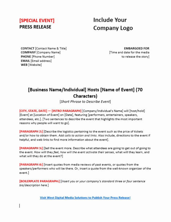 Press Release Template Free Luxury Press Release Templates to Boost Your Content Marketing & Pr