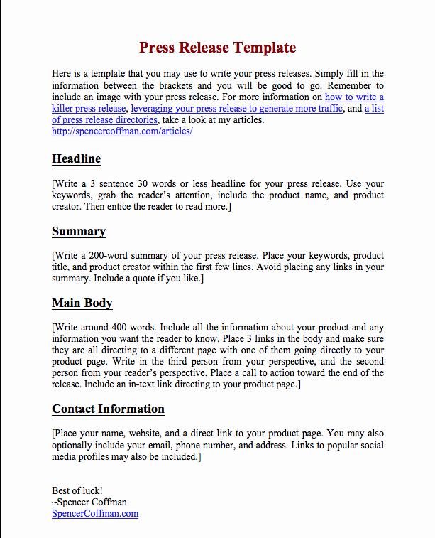 Press Release Template Free New Free Press Release Template for Your Press Releases