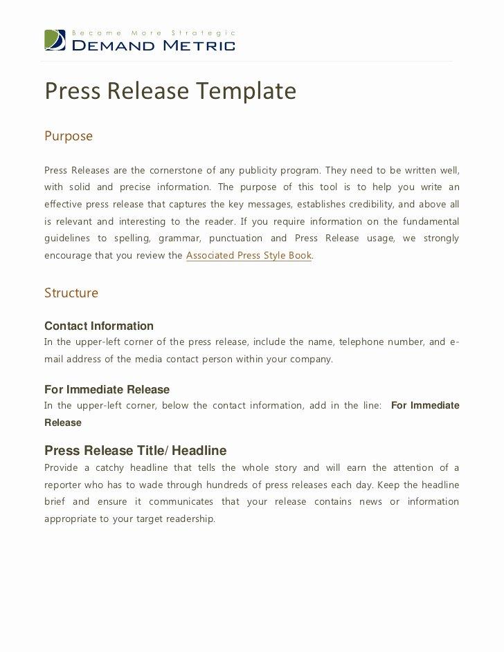 Press Release Template Free Unique Press Release Template