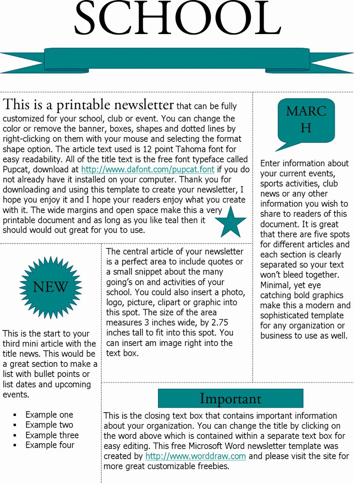 Print Newsletter Template Free Inspirational Microsoft Newsletter Templates