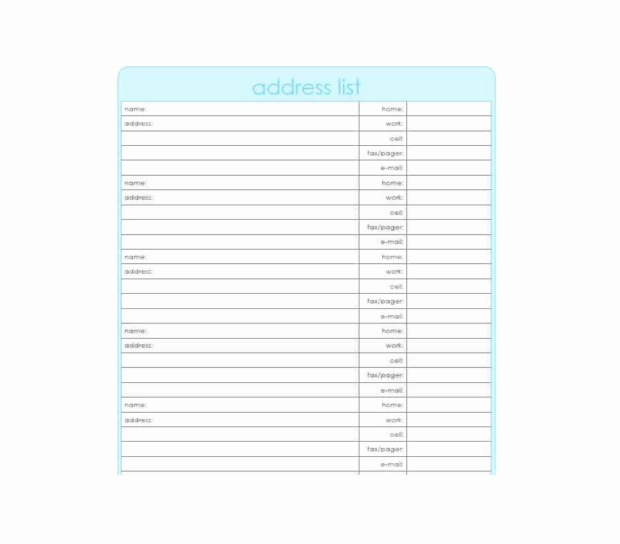Printable Address Book Template New 40 Printable & Editable Address Book Templates [ Free]