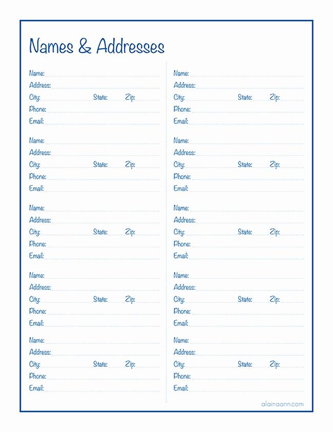 Printable Address Book Template New Names & Addresses Free Printable Alaina Ann