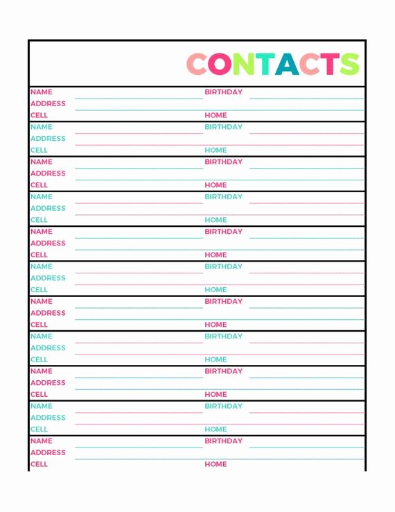 Printable Address Book Template Unique Bright Contacts Address Book Printable Page Letter Size Pdf