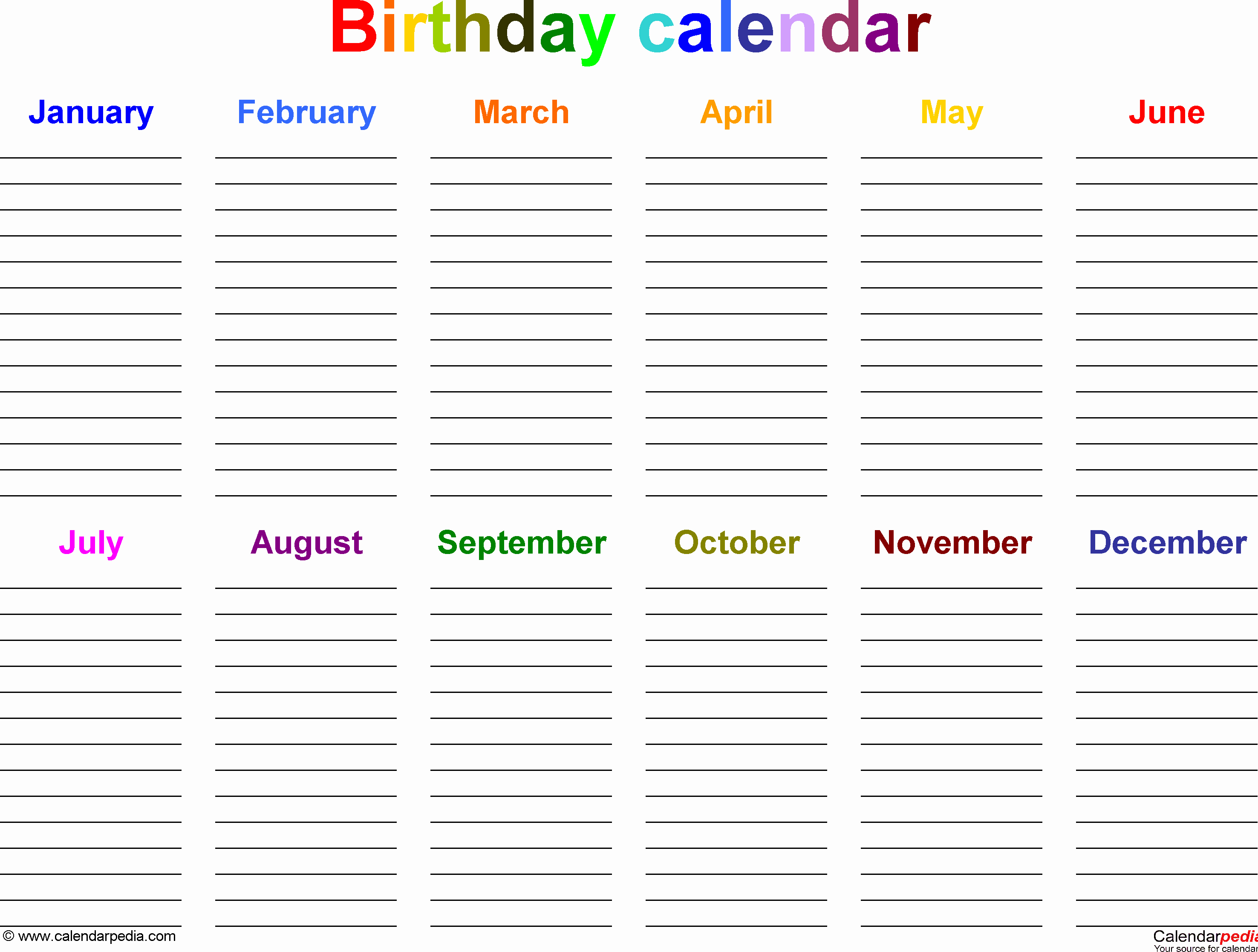 Printable Birthday Calendar Template Elegant Birthday Calendars Free Printable Microsoft Word Templates
