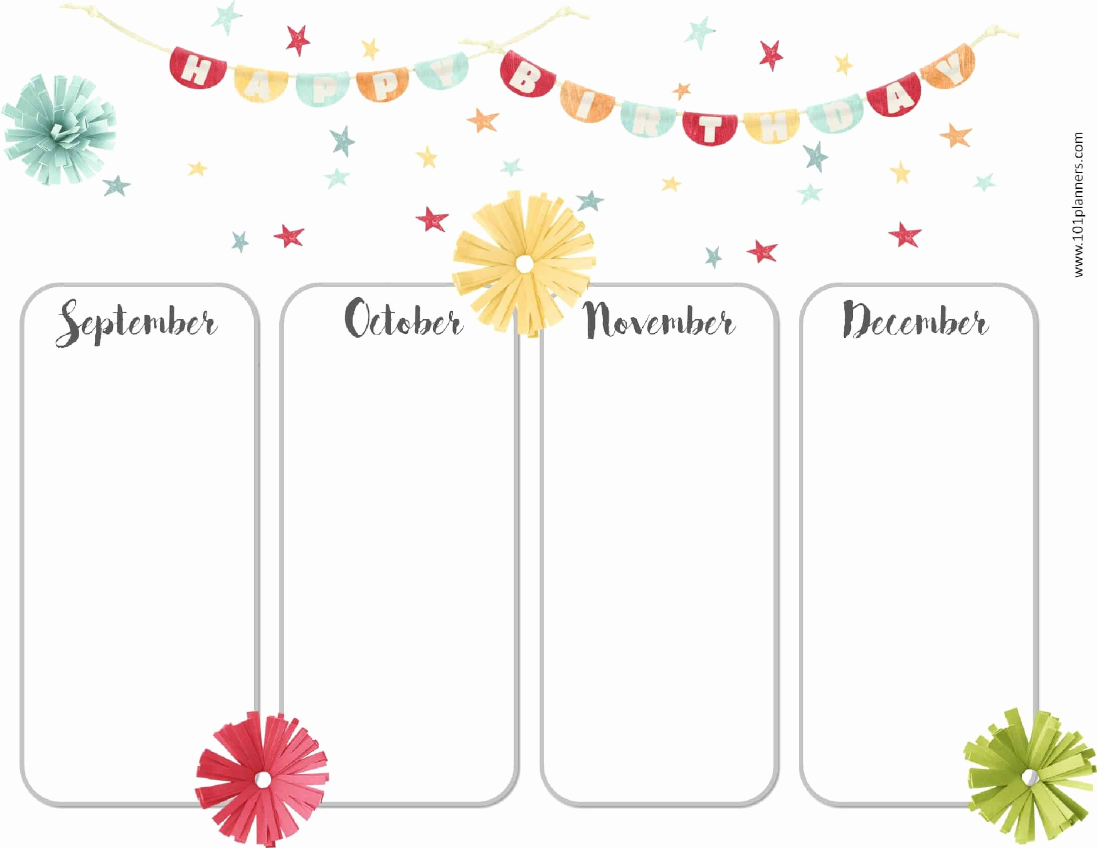 Printable Birthday Calendar Template Elegant Free Birthday Calendar Printable & Customizable