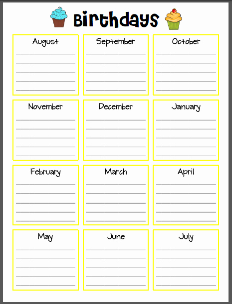 Printable Birthday Calendar Template Elegant Super Sparkly In Second Wanna See My Lesson Plan Book