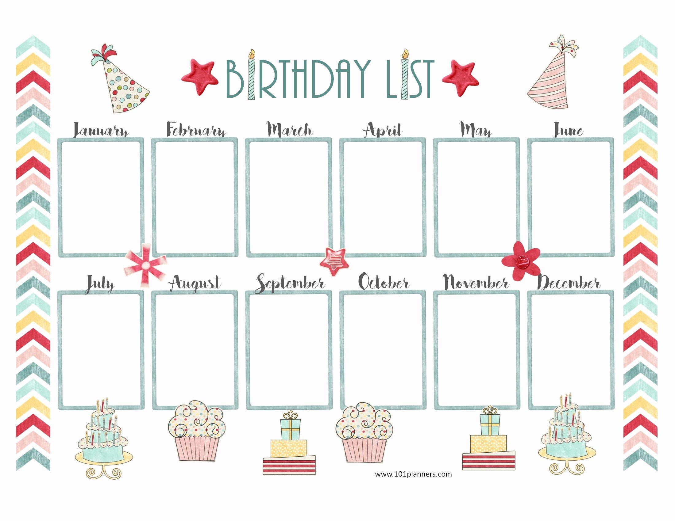 Printable Birthday Calendar Template Fresh Birthday Calendar Templates