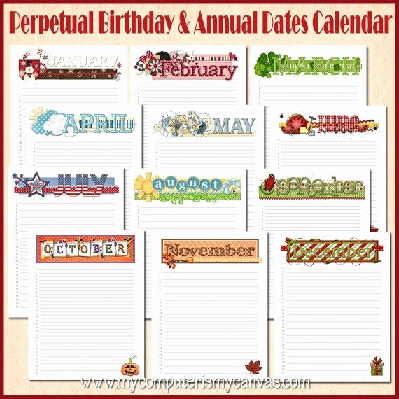 Printable Birthday Calendar Template Fresh Items Similar to Annual Birthday Calendar Yearly Date