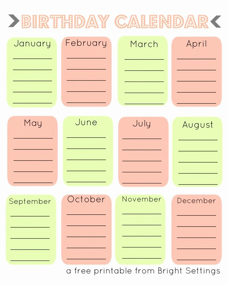 Printable Birthday Calendar Template Inspirational 28 Best Printable Birthday Calendar Images On Pinterest