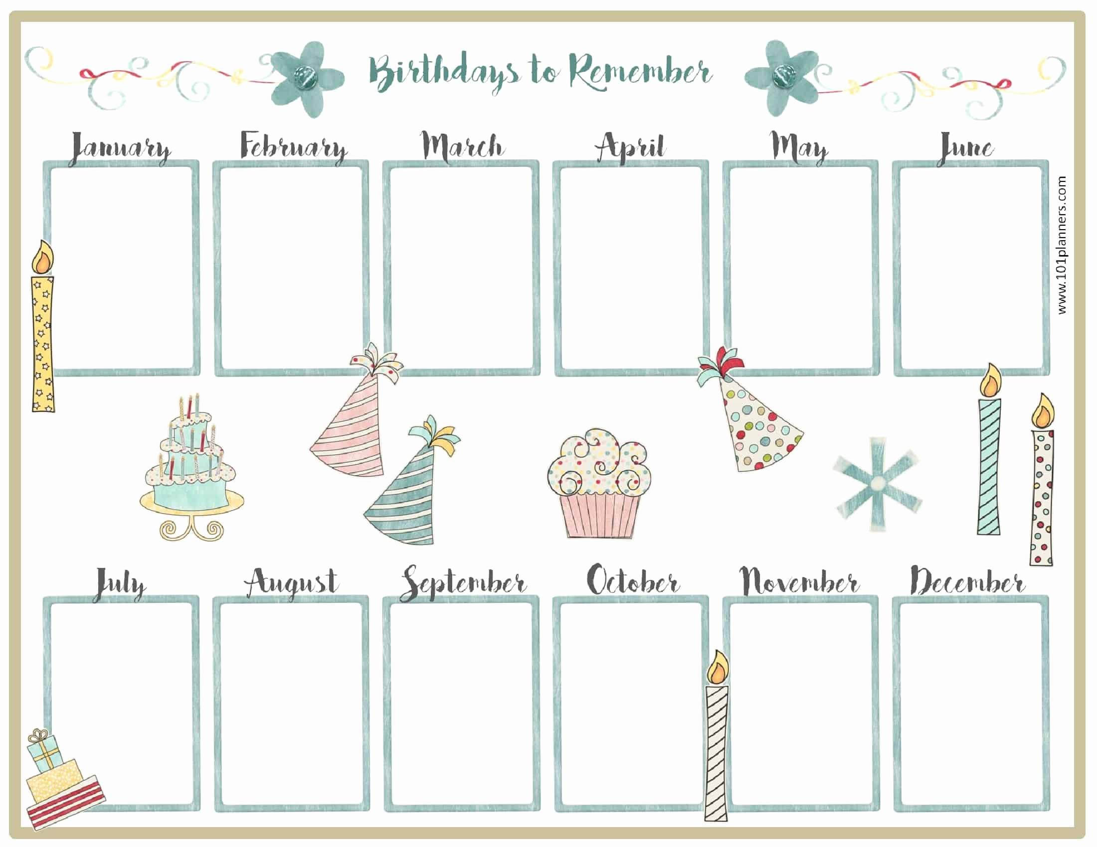 Printable Birthday Calendar Template Lovely Free Birthday Calendar