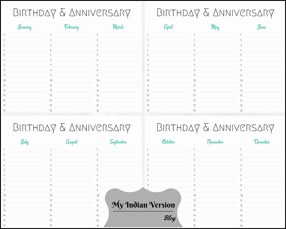 Printable Birthday Calendar Template Lovely My Indian Version Birthday & Anniversary Calendar Free