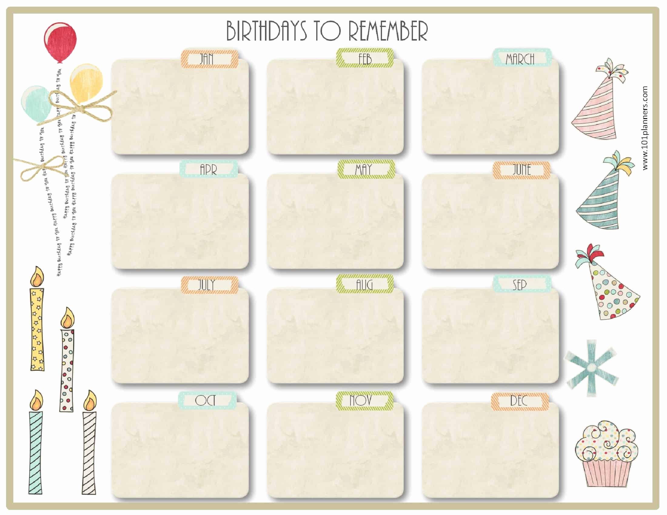Printable Birthday Calendar Template Luxury Free Birthday Calendar