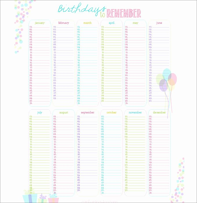 Printable Birthday Calendar Template New Birthday Calendar Calendar Template