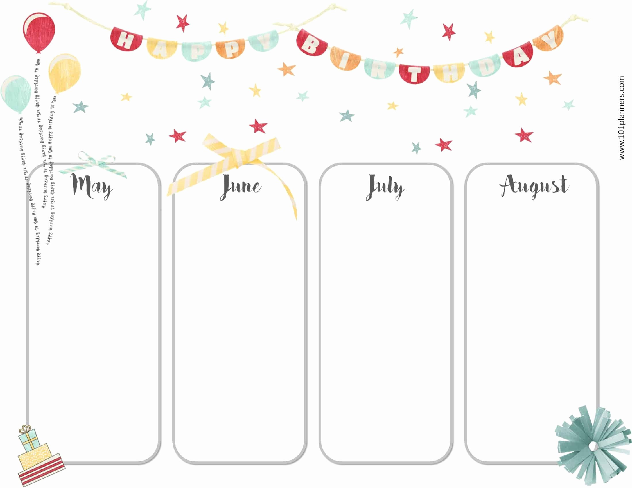 Printable Birthday Calendar Template New Free Birthday Calendar Printable & Customizable