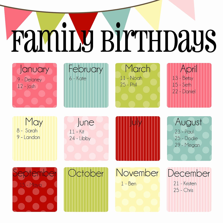Printable Birthday Calendar Template New Items Similar to Family Birthday Calendar Digital Copy