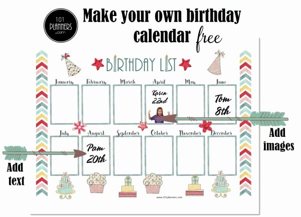 Printable Birthday Calendar Template Unique Free Birthday Calendar Printable & Customizable