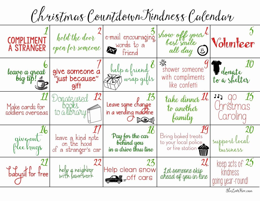 Printable Countdown Calendar Template Awesome Counting Down to Christmas with Acts Of Kindness