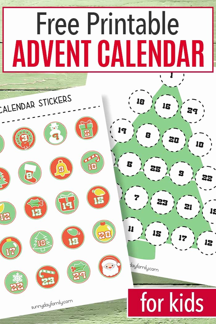 Printable Countdown Calendar Template Awesome Free Printable Advent Calendar for Kids