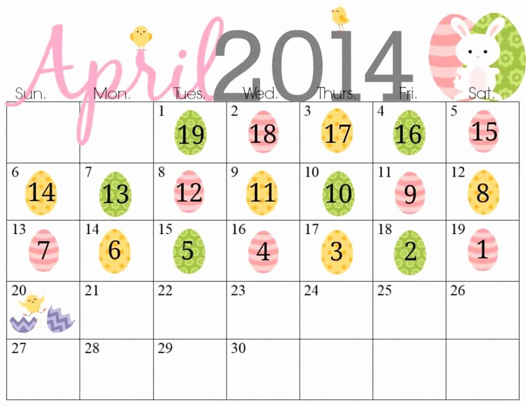 Printable Countdown Calendar Template Beautiful Free Printable Easter Countdown