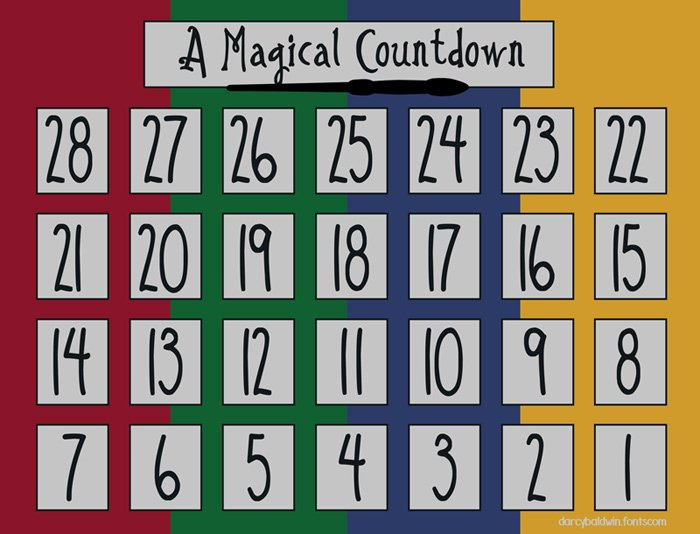 Printable Countdown Calendar Template Best Of Magical Printable Darcy Baldwin Fonts