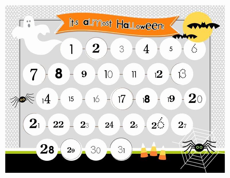 Printable Countdown Calendar Template Elegant Halloween Countdown Printable
