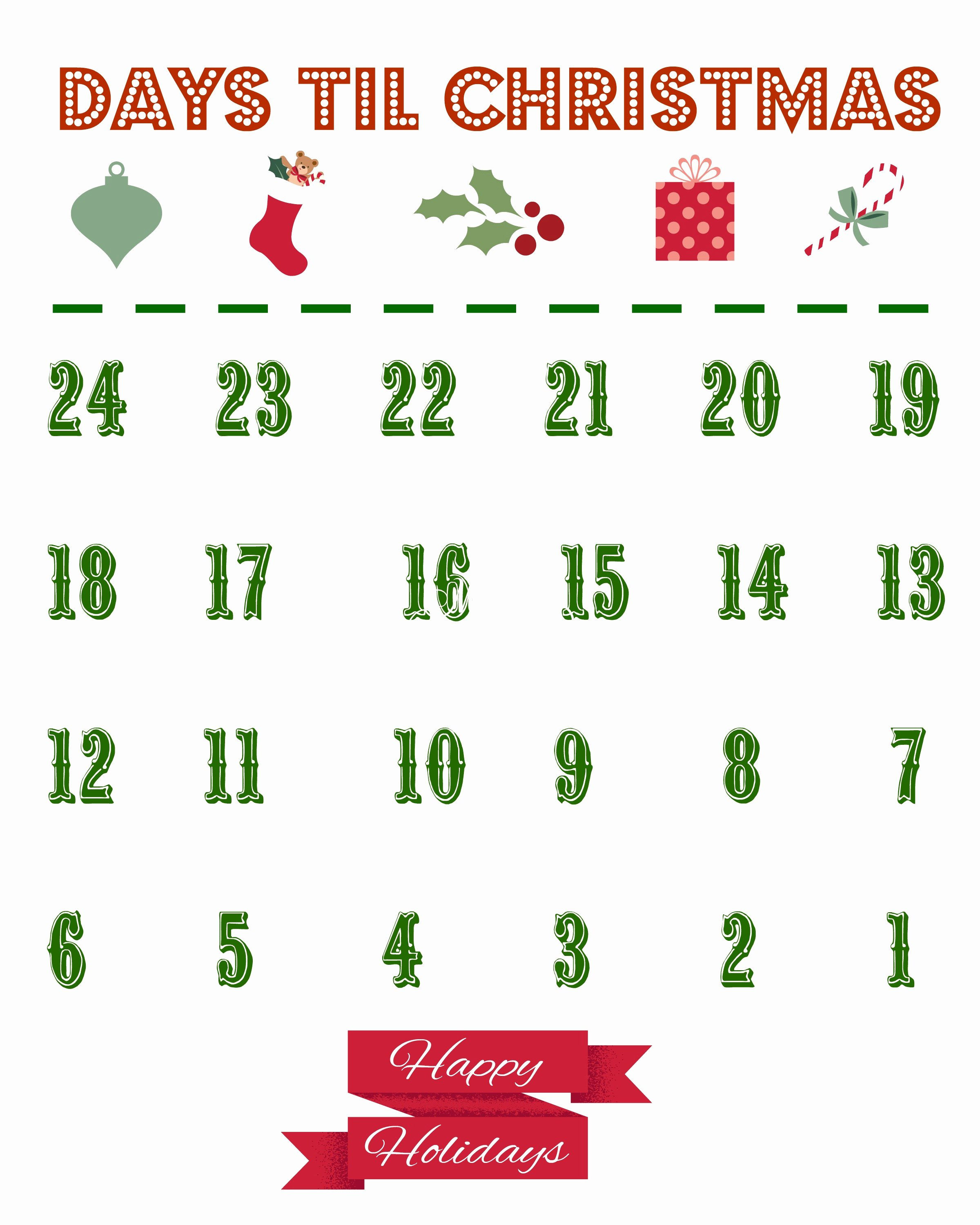 Printable Countdown Calendar Template Elegant Printable Christmas Countdown Calendar the Country Chic
