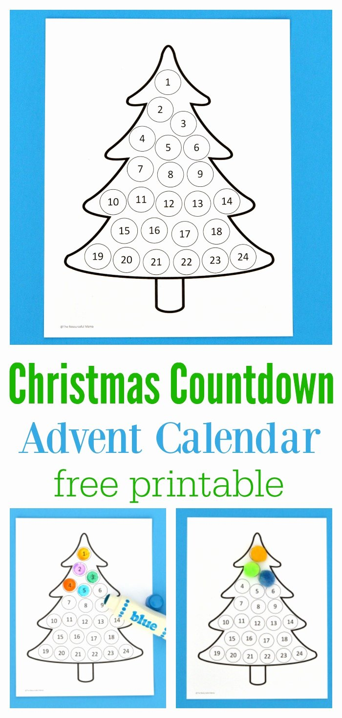 Printable Countdown Calendar Template Lovely Christmas Countdown Advent Calendar the Resourceful Mama