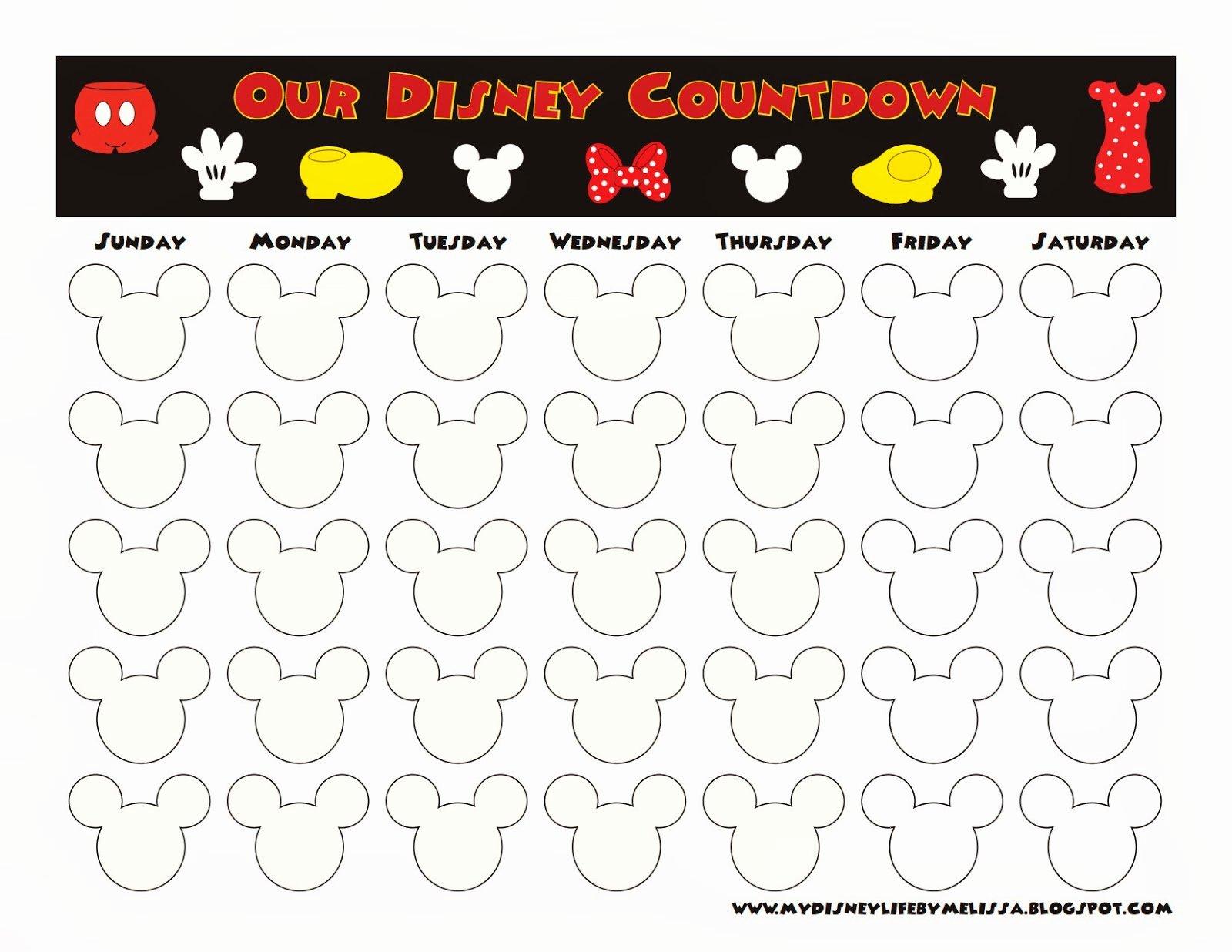 Printable Countdown Calendar Template Lovely My Disney Life Countdown Calendars