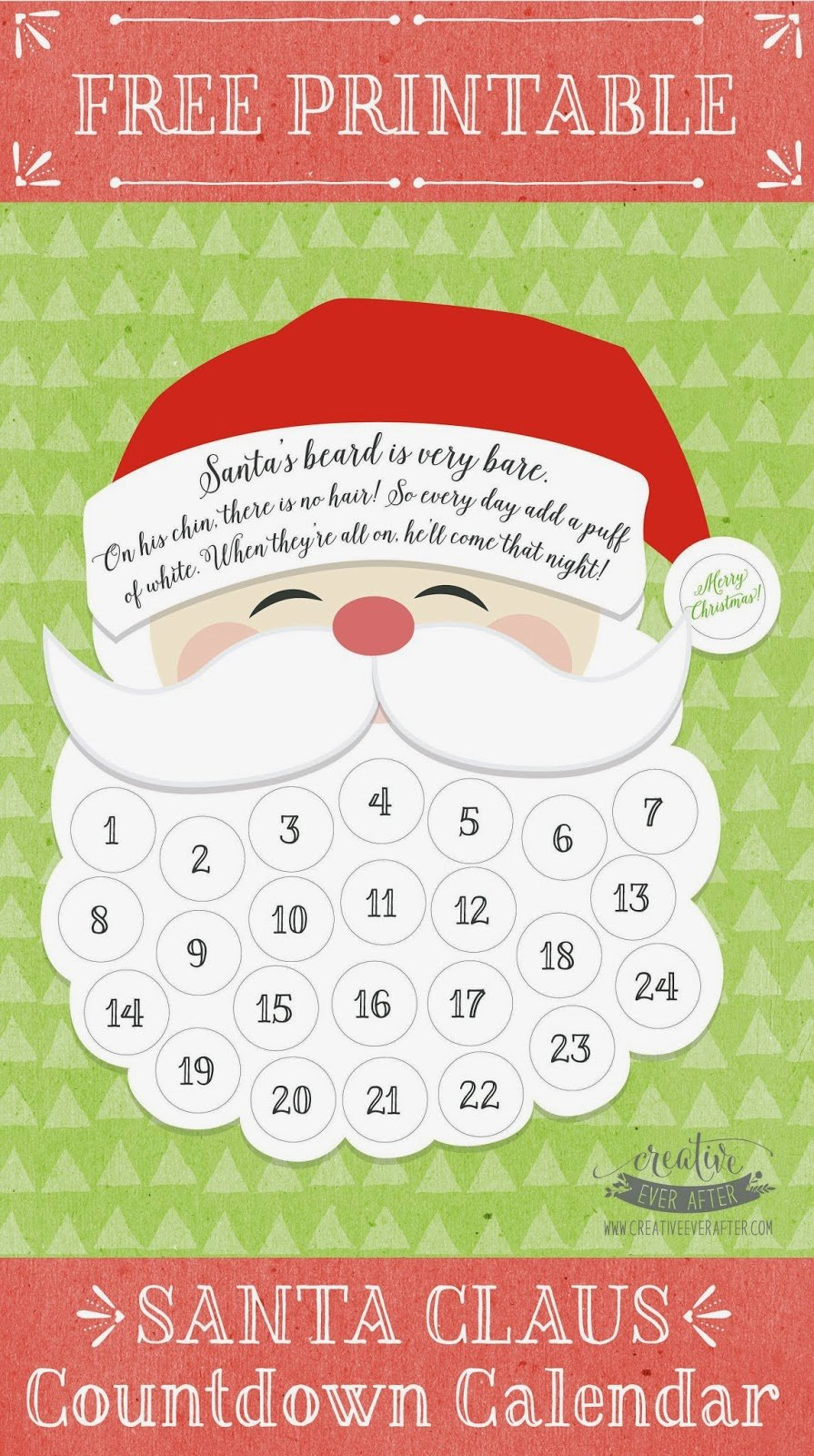 Printable Countdown Calendar Template New Free Printable Santa Claus Beard Countdown Calendar