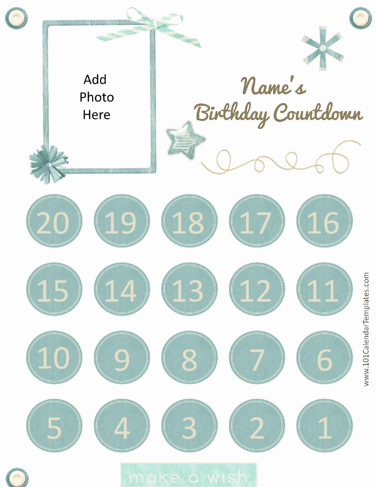 Printable Countdown Calendar Template Unique Printable Calendar Countdown
