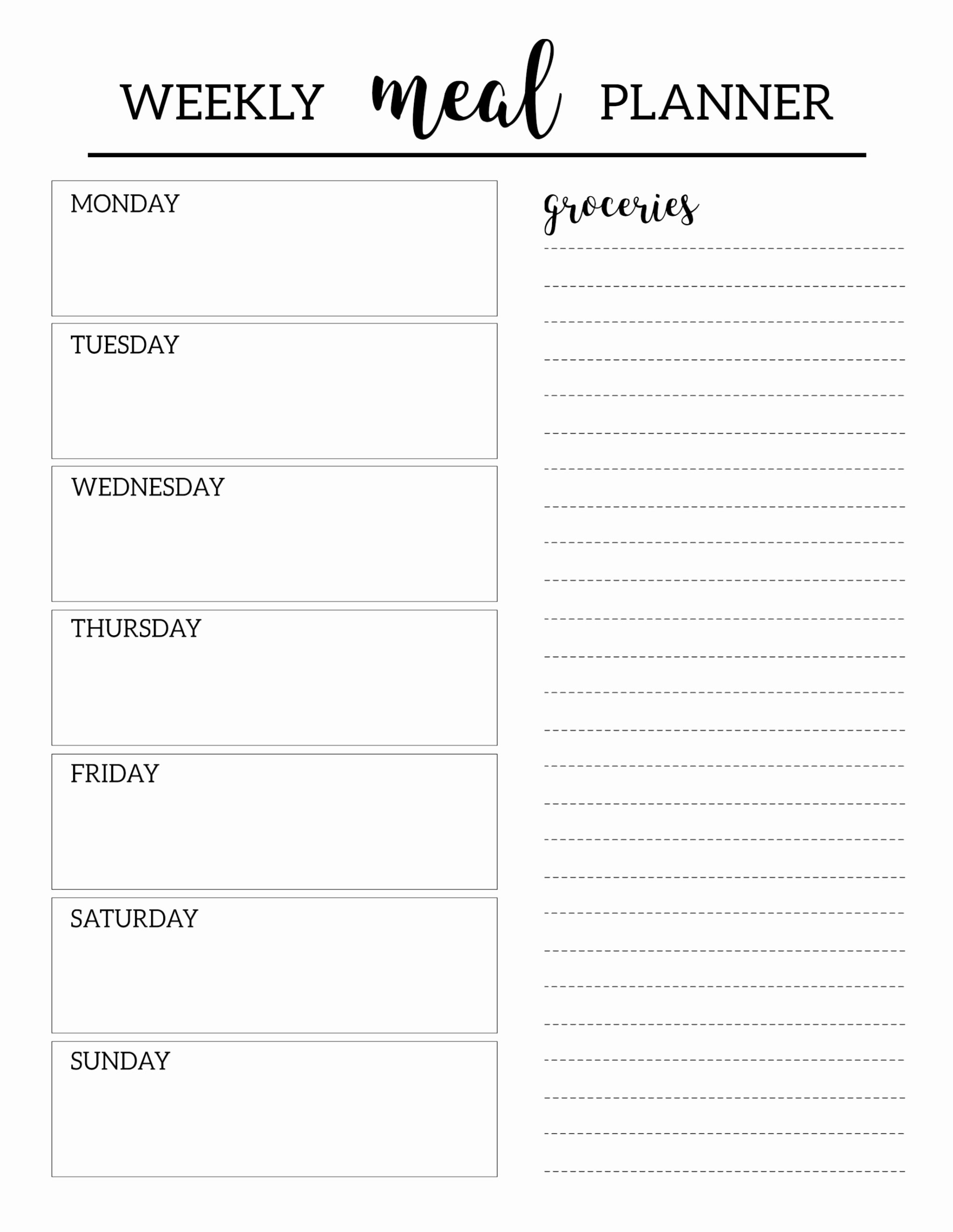 Printable Daily Planner Template Beautiful Free Printable Meal Planner Template Paper Trail Design
