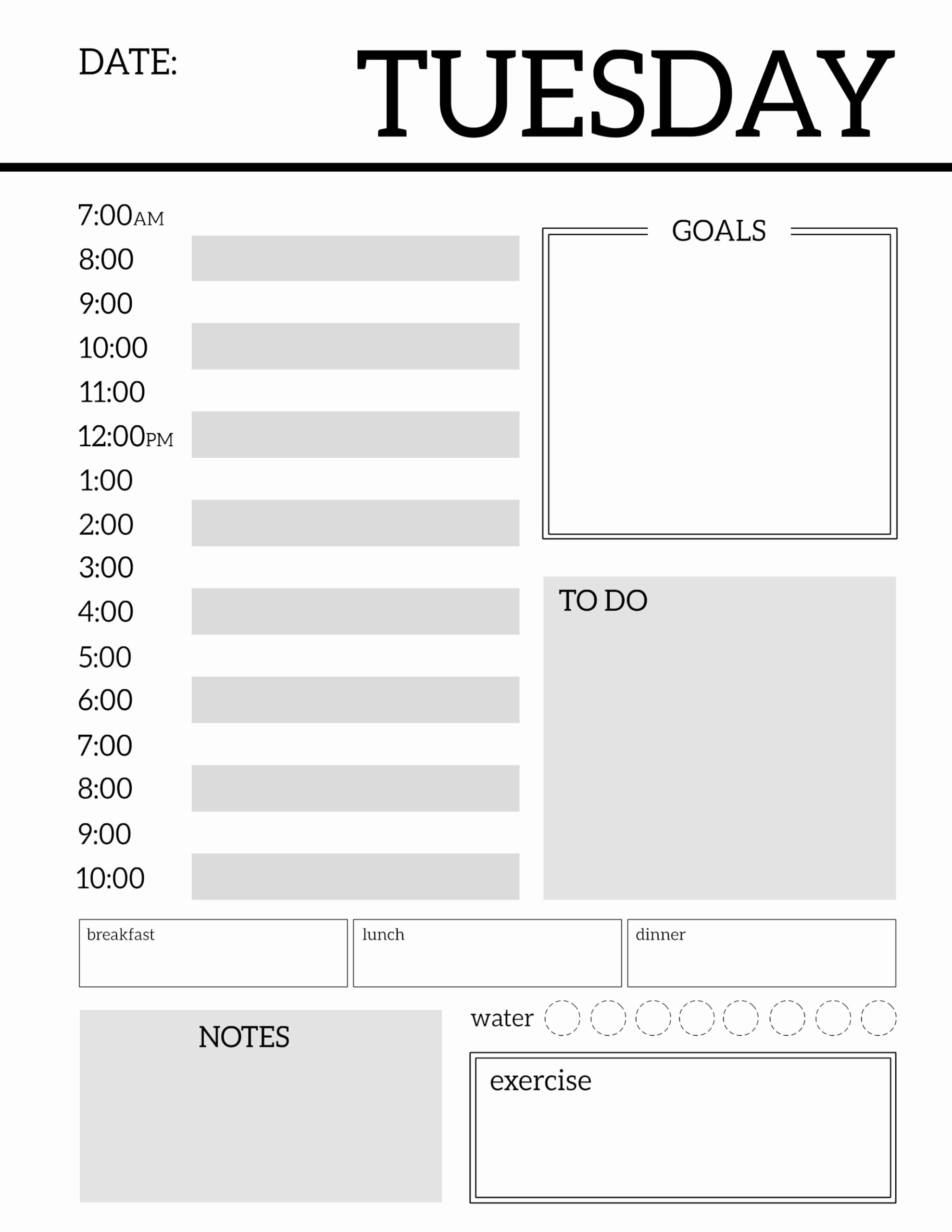 Printable Daily Planner Template New Daily Planner Printable Template Sheets Paper Trail Design