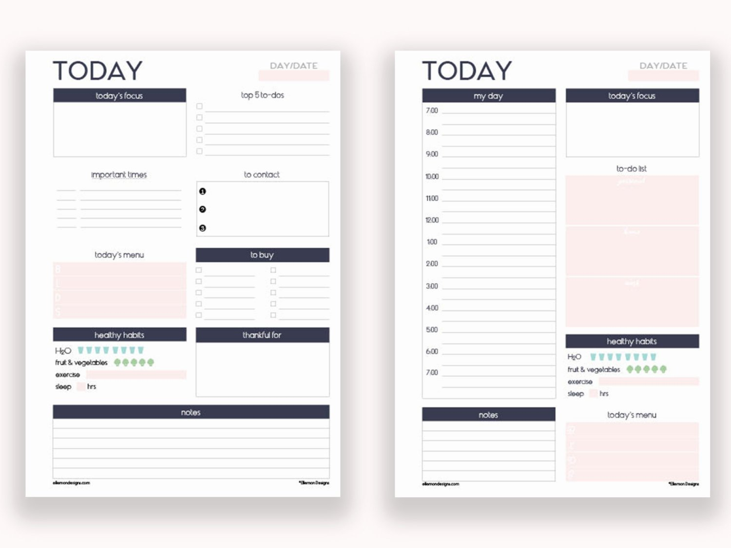 Printable Daily Planner Template New Two A5 Daily Planners Printable Inserts Refills Also Fits