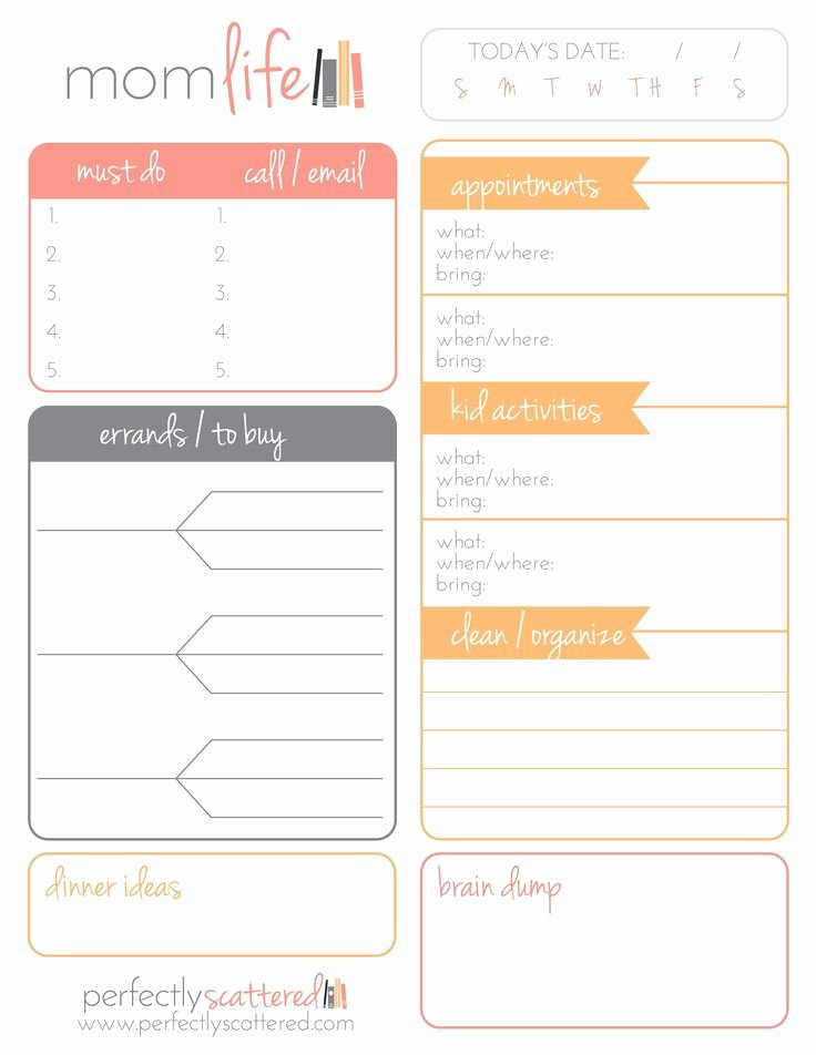 Printable Daily Planner Template Unique Free Printable Daily Planner for Moms