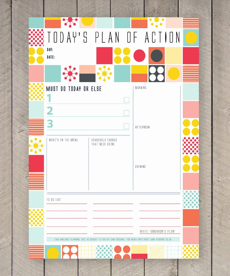 Printable Daily Planner Template Unique Printable Day Planner Family organiser Mid Century Colourful