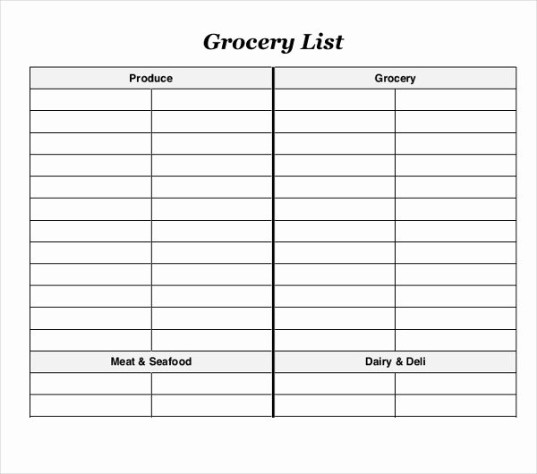 Printable Grocery List Templates Awesome 10 Blank Grocery List Templates Pdf Doc Xls