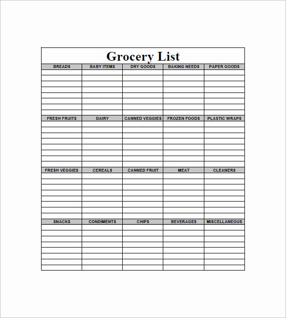 Printable Grocery List Templates Awesome Free 6 Blank Printable Grocery List Template Checklist Pdf